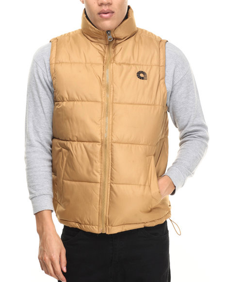 Akademiks - Men Tan Outback Padded Bubble Vest - $13.99