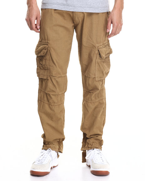Basic Essentials - Men Khaki Belted Twill Cargo Pants