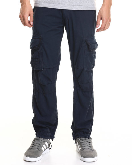 Basic Essentials - Men Navy Belted Twill Cargo Pants