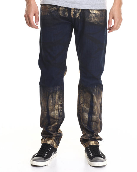 Buyers Picks - Men Gold,Dark Wash Night Foil Modern Slim Fashion Jeans
