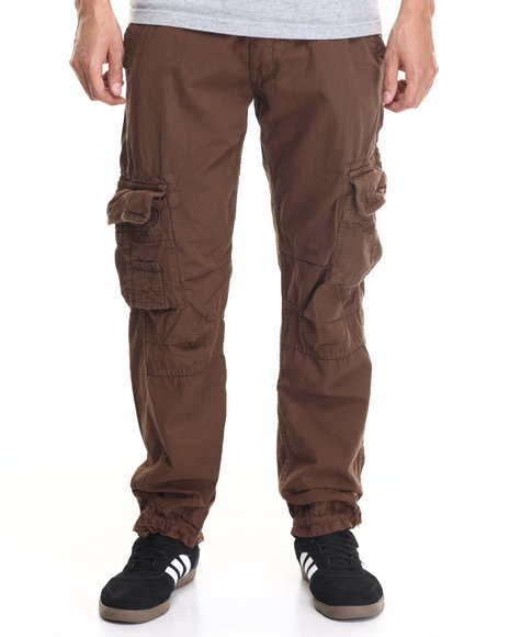 Basic Essentials - Men Brown Belted Twill Cargo Pants