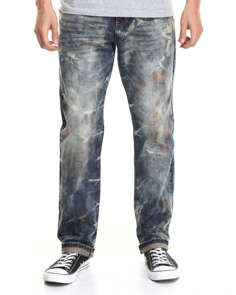 Buyers Picks - Men Medium Wash Acid Blue Modern Slim Sand - Effect Denim Jeans