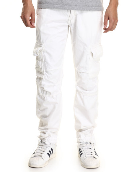 Basic Essentials - Men White Belted Twill Cargo Pants