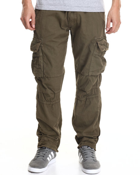 Basic Essentials - Men Olive Belted Twill Cargo Pants