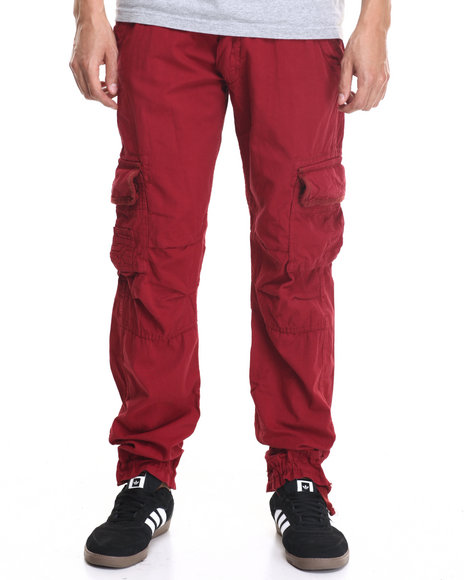 Basic Essentials - Men Maroon Belted Twill Cargo Pants