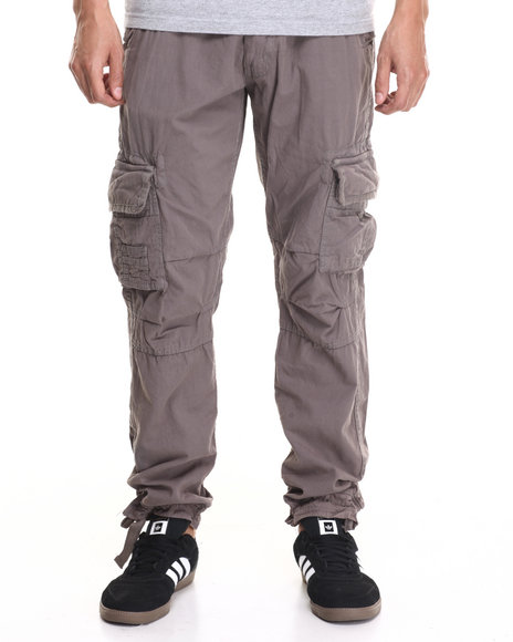 Basic Essentials - Men Charcoal Belted Twill Cargo Pants