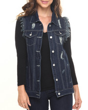 Women - Rebel Oversized Destructed Denim Vest