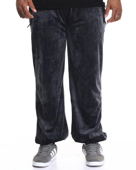Akademiks Men Veezy Velour Sweatpants (B&T) Grey 5X-Large