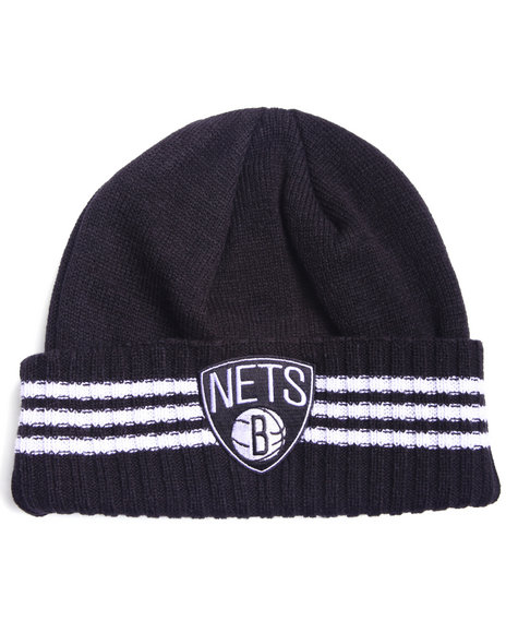 Adidas Men Brooklyn Nets Triple Stripe Cuffed Knit Hat Black - $19.99