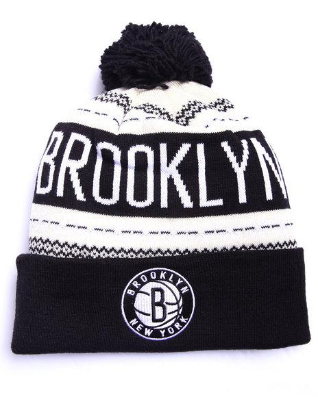 Adidas Men Brooklyn Nets Flake Cuffed Knit Hat Black 1SZ