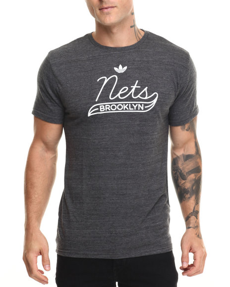 Adidas Men Brooklyn Nets Retro Fit SS Tee Charcoal Large