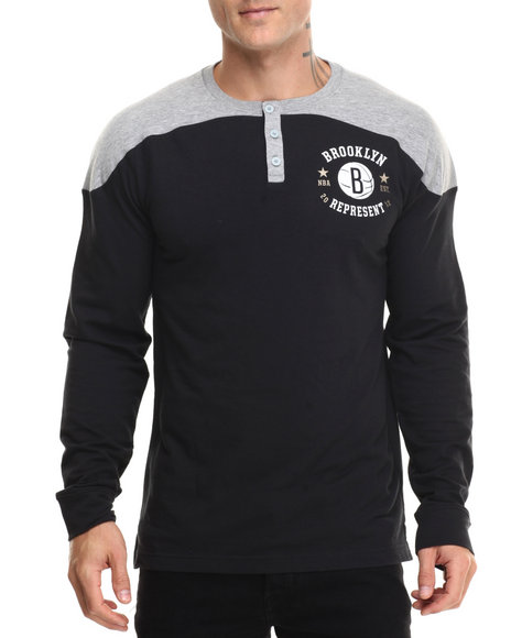 Adidas - Men Black Brooklyn Nets Original L/S Crewneck Shirt