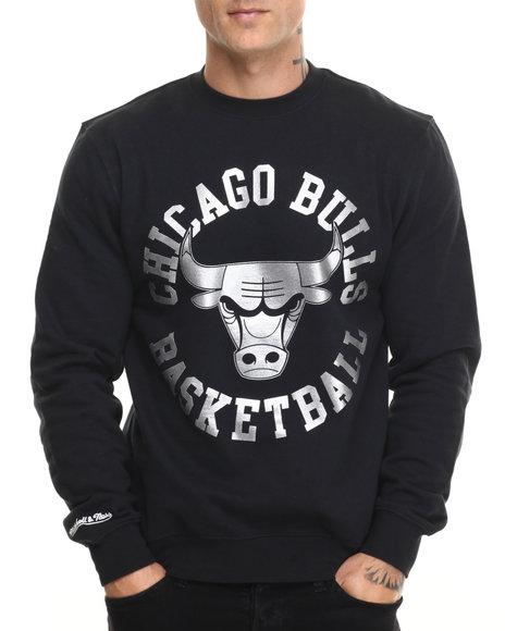 Mitchell & Ness - Men Black Chicago Bulls Silver Metallic Crew Sweatshirt (Tailored Fit)