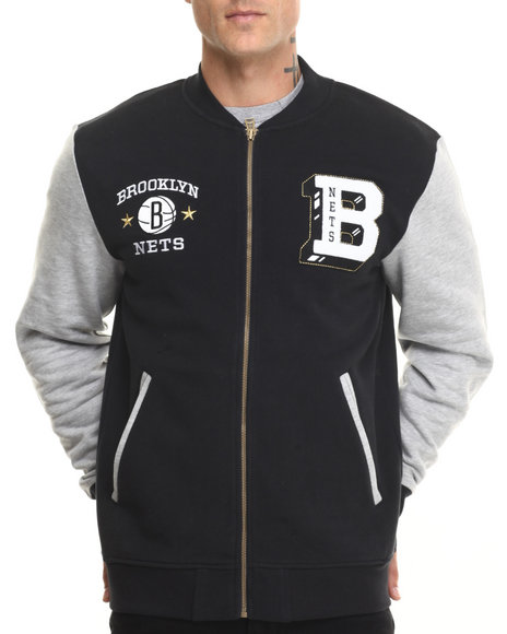 Adidas - Men Black Brooklyn Nets Original Fleece Jacket