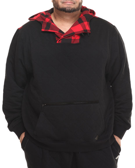 Parish - Men Black Quilted Popover Hoodie (B&T)