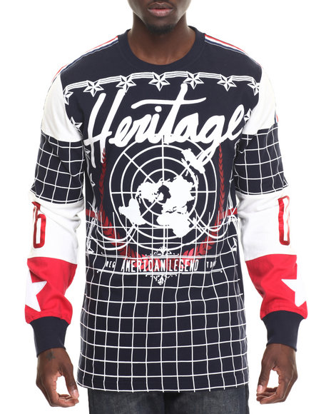 Heritage America - Men Navy Heritage L/S T-Shirt