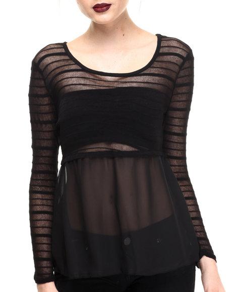 Fashion Lab - Women Black Mesh Long Sleeve Flow Top