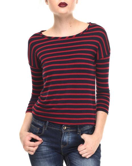Fashion Lab - Women Blue Stripe 3/4 Sleeve Top