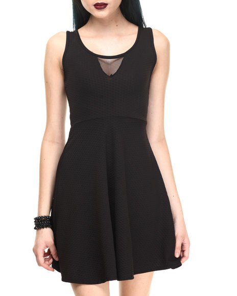 Fashion Lab - Women Black Textured Swater Dress