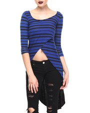 Tops - Crossover Stripe High Low Top