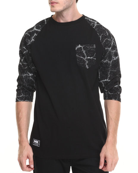 Dgk Men Blacktop Custom 3/4 Sleeve Knit Tee Black Large