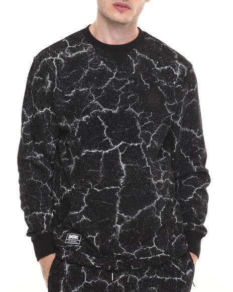 Dgk - Men Black Blacktop Custom Crew Fleece Sweatshirt