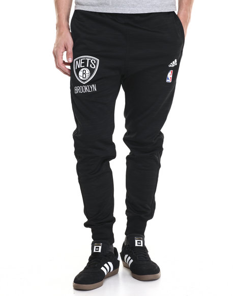 Adidas - Men Black Brooklyn Nets On-Court Warm-Up Jogger Pants