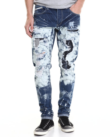 Heritage America - Men Dark Wash Heritage Distressed Denim Jeans - $59.99