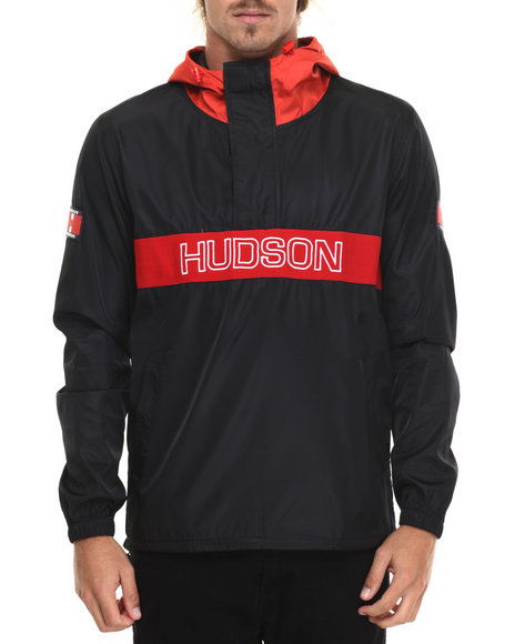 Hudson Nyc - Men Black H D S N 1/4 Zip Pullover Hooded Jacket