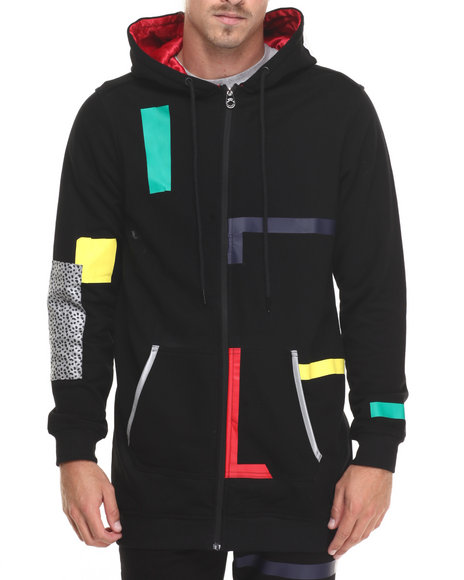 Bass By Ron Bass - Men Black Color Tape Elongated Zip - Up Hoodie