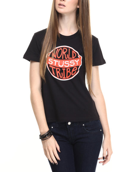 Stussy - Women Black World Tribe Tee