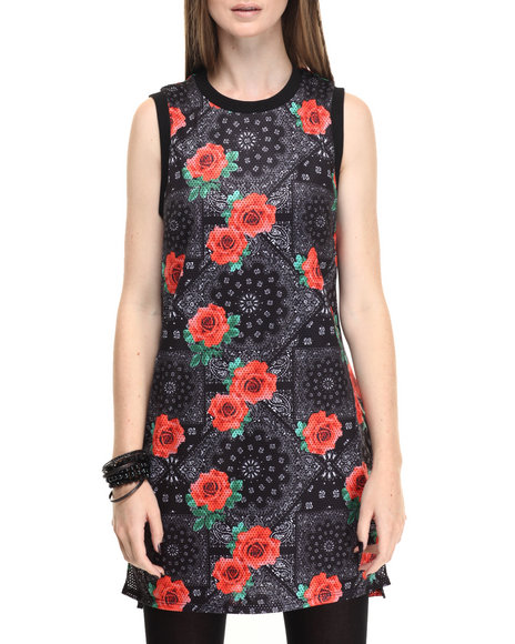Eric + Lani - Women Black Woven Printed Mesh Dress