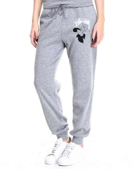 Stussy - Women Grey Stussy Rose Sweatpants - $55.00