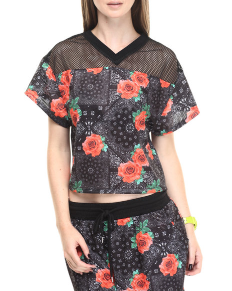 Eric + Lani - Women Black Woven Printed Mesh Crop Top