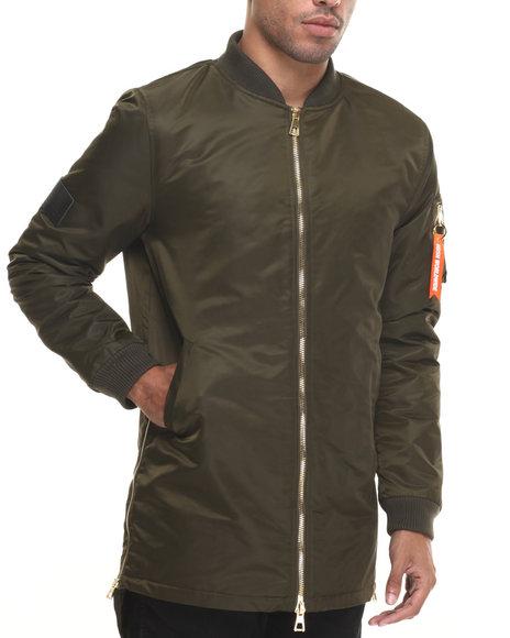 Hudson Nyc - Men Olive Tonal Fishtail Flight Jacket