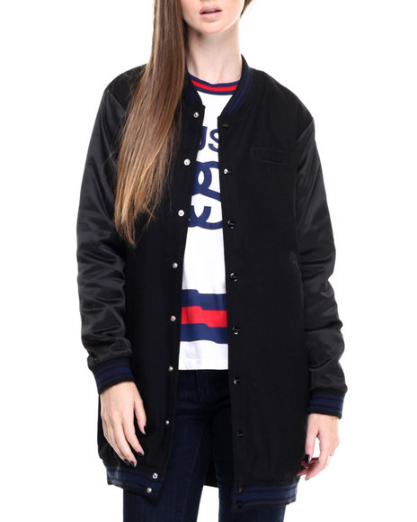Stussy - Women Black Longline Bomber Jacket