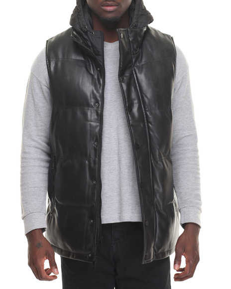 Sean John - Men Black Quilted Faux Leather Vest