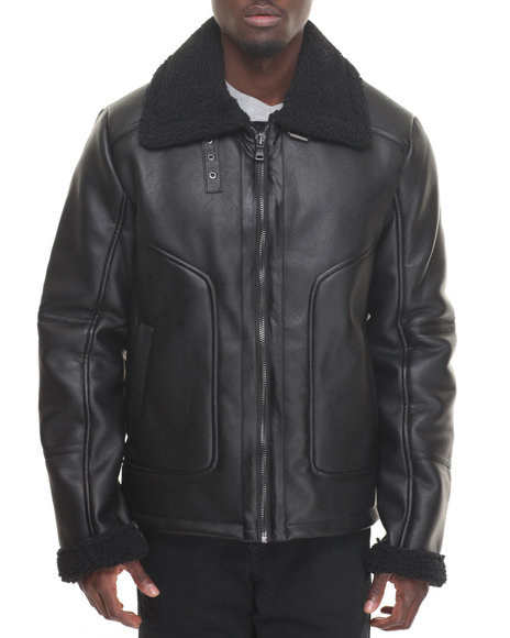 Sean John - Men Black Shearling - Style Faux Leather Coat