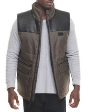 Sean John - Faux Leather - Lined Nylon Vest