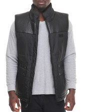 Black Friday Shop - Men - Faux Leather - Lined Nylon Vest