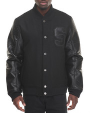 Black Friday Shop - Men - 'S' Varsity Wool / Faux Leather Baseball Jacket