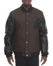 Sean John - 'S' Varsity Wool / Faux Leather Baseball Jacket