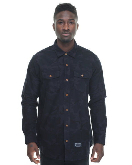 Acapulco Gold - Men Navy Tactical Camo Flannel L/S Button-Down