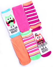 Women - Stache Bird/ Hula Bird 6 Pk No Show Sock