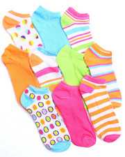 Women - Dots & Stripes 10Pk No Show Socks