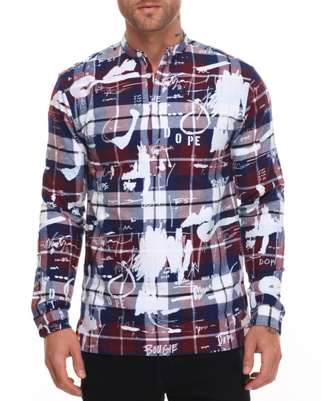 Dope - Men Maroon,Navy Ink Study Flannel Tunic