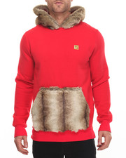 Men - Lux Faux - Fur - Trimmed Pullover Hoody