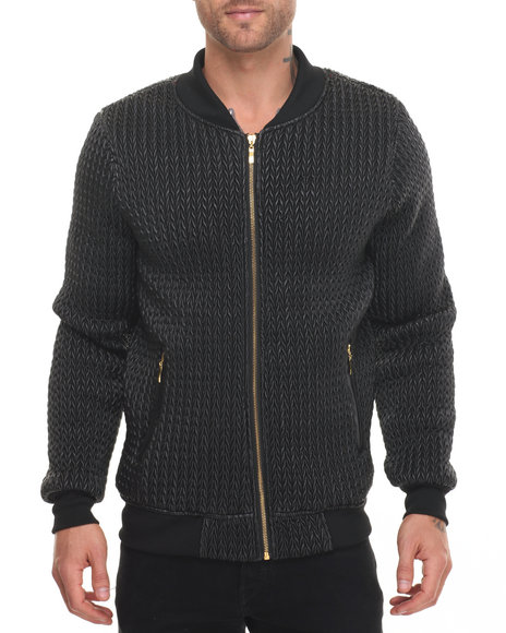 Buyers Picks - Men Black Pop Up Woven Bomber Jacket