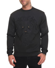 Men - Embossed Lion Face Crewneck Sweatshirt