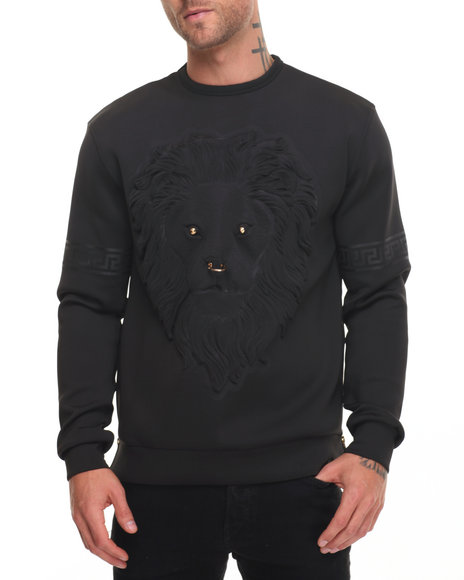Hudson Nyc - Men Black Embossed Lion Face Crewneck Sweatshirt - $79.99